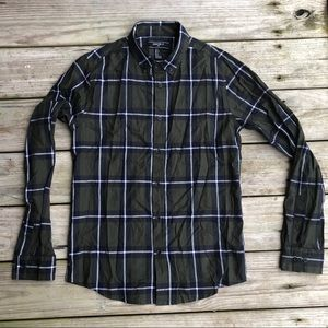 Olive Green & Navy Blue H&M Button Up Flannel
